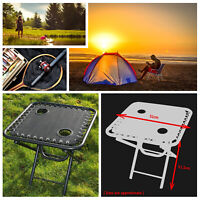 Textoline Outdoor Portable Folding Table Garden Camping Cup Holder Built In