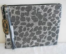 Silver Gunmetal Evening Rhinestone Pouch Clutch Bag Purse Handbag NEW Only 1 Zip