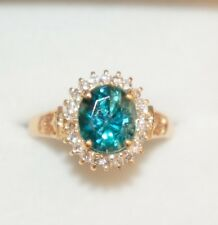 18k Solid Gold Cluster Ring, Natural Blue Zircon 7.0CT and Diamond 0.31CT, Sz7.5