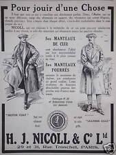 PUBLICITÉ H- J. NICOLL MANTEAUX DE CUIR FOURRÉS POUR JOUIR D'UNE CHOSE