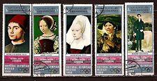267  YEMEN.5 timbres oblitérs,Tableaux exposés à gallerie national de Londres