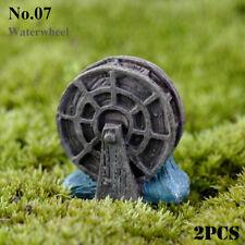 Stone Crafts Home Decor Miniatures Figurines Garden Bridge Steps Waterwheel No.07