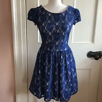 Closet London Dress Size 8 Blue Zip Back Lace W Liner