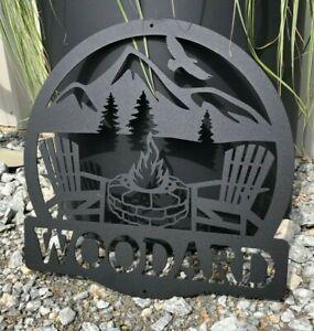 "Metal Lodge Sign Last Name Firepit Mountain 24"" Wide Plasma Cut Sign Art"