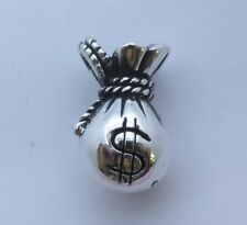 BIG MONEY BAG LUCKY SOLID STERLING 925 SILVER PENDANT