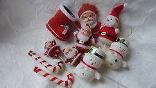 VINTAGE KITSCH CHRISTMAS DECORATIONS FLOCK SANTAS SNOWMAN BOOT & CANDY STICKS