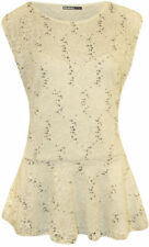 Peplum Solid Plus Size Sleeveless Tops & Blouses for Women