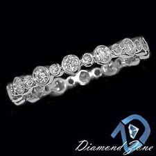BEZEL SET 1/2ct DIAMOND FULL ETERNITY 14K WHITE GOLD RING ROUND WEDDING BAND 6.5
