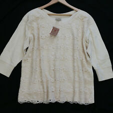 NWT LUCKY BRAND Floral Embroi Lace crochet Ivory Sweater Top XL X-Large NEW $89
