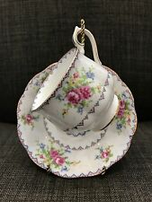 Royal Albert Cross Stitch Floral Tea Cup and Saucer Bone China England