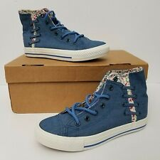 GBA Womens Canvas High Top Sneakers Blue Floral Lining Size 6.5 Lace-Up New