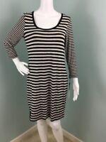 NWT Womens Calvin Klein Black/Beige Striped 3/4 Sleeve Dress Size 10