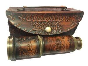 """Maritime 16"""" Dollond London Leather Covered Telescope Handheld Spyglass w / Box"""