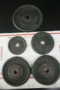 """5 York Standard 1"""" Weight Plates barbell 40 Pounds Total - Free Shipping Mix Lot"""