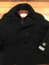 NEW Oilily BOYS Classic Navy Blue Wool Pea Coat 10 yrs 140cm $175 w/ zipper SALE