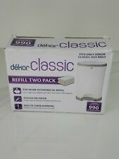 Dekor Classic Diaper Refill Two (2) pack Disposable Diaper Sacks Open Box