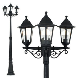 Victorian 220cm Black 3 Way Lantern Outdoor Garden Lamp Post LED Lighting IP44