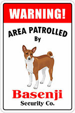 "*Aluminum* Warning Area Patrolled By Basenji 8""X12"" Metal Novelty Sign"