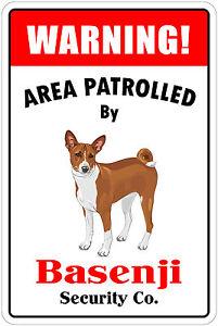 "*Aluminum* Warning Area Patrolled By Basenji 8""X12"" Metal Novelty Sign"