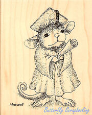 HOUSE MOUSE Graduation Graduate Wood Mounted Rubber Stamp STAMPENDOUS HMV07 New
