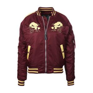 Alpha Industries Japan Dragon Jacket Women's Burgundy Gold Sportswear Outwear