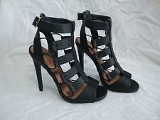 Qupid Strappy Black Gladiator High Heel Shoes 7.5 Peep Toe Ankle Strap Stiletto