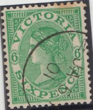 Stamp 6d green sideface Victoria cancelled to order 5 Jan 1901 variety die crack