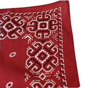 Red Bandana Vintage Fast Color USA Cotton Biker Handkerchief Scarf 7819
