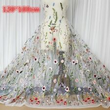 """Embroidery Floral Lace Fabric White Mesh Wedding Dress Cloth 47"""" Width By Meter"""