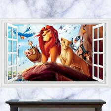 Cartoon Lion King 3D Window View Wall Sticker Baby Kids Room Art Decal