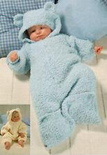 "All in One / Baby Sleeping Bag Teddy Ears Snowflake ~18 - 24"" Knitting Pattern"