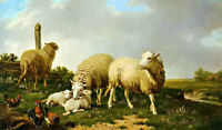 Oil painting eugene verboeckhoven sheep and rooster in landscape free shipping