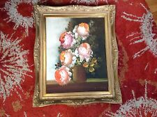 Vintage Estate A. Silver Original floral oil painting peony peonies or roses