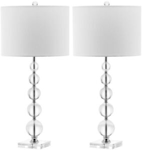 Table Lamp 29 in. Stacked Crystal Base in Clear and White with Linen Drum Shade