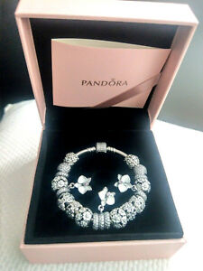 PANDORA Moments Pavé Silver Bracelet (18cm) including PANDORA charms