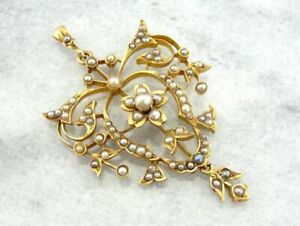 Victorian Era 10k Yellow Gold Over Seed Pearl Floral Motifs Pendant Only 1 Piece