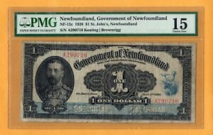 St. John's Newfoundland 1920 $1 Dollar NF-12c Keating Brownrigg Banknote PMG-15