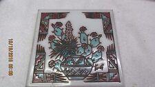 """Vintage EARTHTONES Enamel Art Tile Trivet 6"""" SOUTHWEST Signed TU-OTI"""