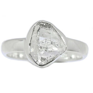 Herkimer Diamond - USA 925 Sterling Silver Ring Jewelry s.6 BR100617