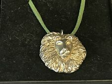 """Lion's Head TG23 English Pewter On 18"""" Green Cord Necklace"""