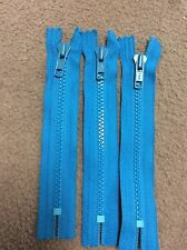 """Lot of 20 YKK 7"""" Turquoise Molded Plastic Non-Separating Zippers"""