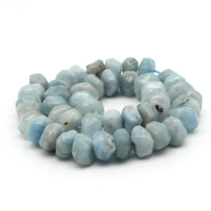 15mm*8mm Natural Stone Aquamarine Freeform Polygon beads Strand DIY 15''