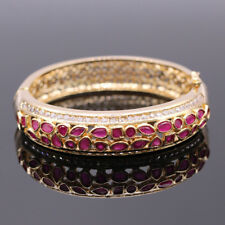 Luxurious Party Jewelry Gold Color Red Cubic Zircon Pave Bangle Bracelet