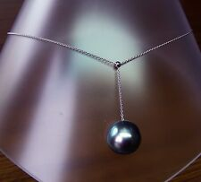 14.3mm!! TAHITI BLACK PEARL 100% UNTREATED +18 ct WHITE GOLD NECKLACE SLIDER