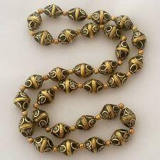 "Black White Beads Strand Necklace 24"" Brass Nepalese Tibetan Handmade  N2319"