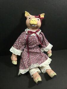 WANG'S - Pig Doll - 14 inch - Calico Dress