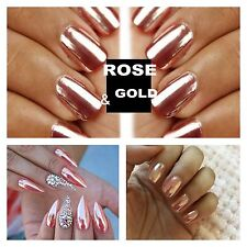 MIRROR POWDER CHROME EFFECT Pigment NAILS New Rose Gold Silver Nail Art