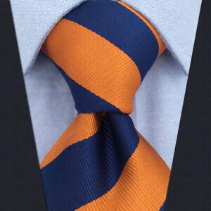 SHLAX&WING Silk Neckties for Men Striped Tie Blue Orange New