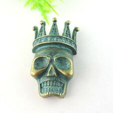 8PCS Vintage Patina Alloy Crown Skull Charms Pendant Finding