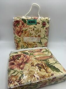 """Beautiful Quilted KING PILLOW SHAM Pair FLORAL """"Diana"""" Yellow Red Green NIP"""